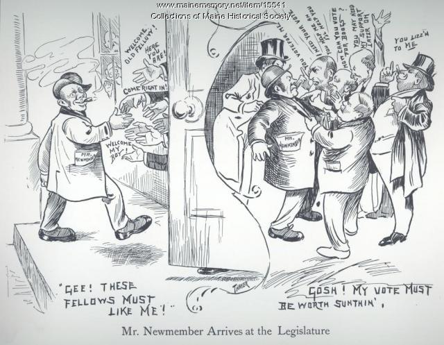 Political cartoon on lobbying, 1907
