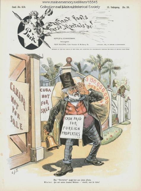 Cash paid for foreign properties cartoon, 1889
