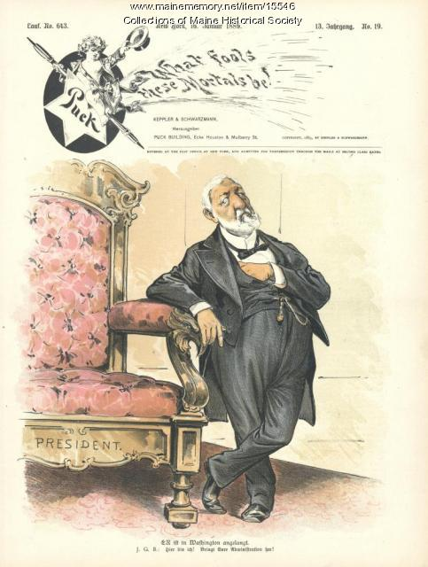 Puck cartoon about James G. Blaine, 1889