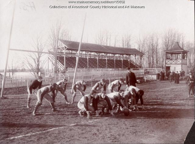 Football practice, Houlton Fairgrounds, 1900