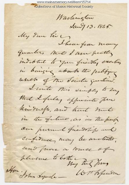 Letter of thanks to John Lynch, 1865