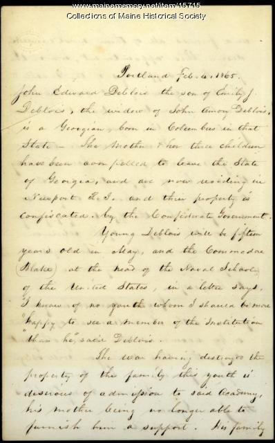 Letter concerning appointment to Naval Academy, 1865