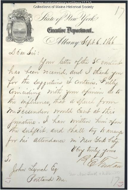 Letter to John Lynch from New York Governor R.E. Fenton