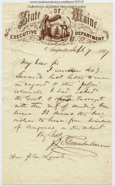 J.L. Chamberlain letter to John Lynch, 1867