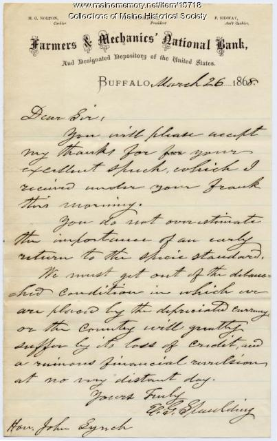 Letter to Rep. John Lynch on specie standard, 1868