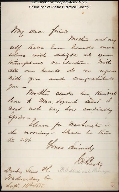 Letter of congratulations to John Lynch, 1868