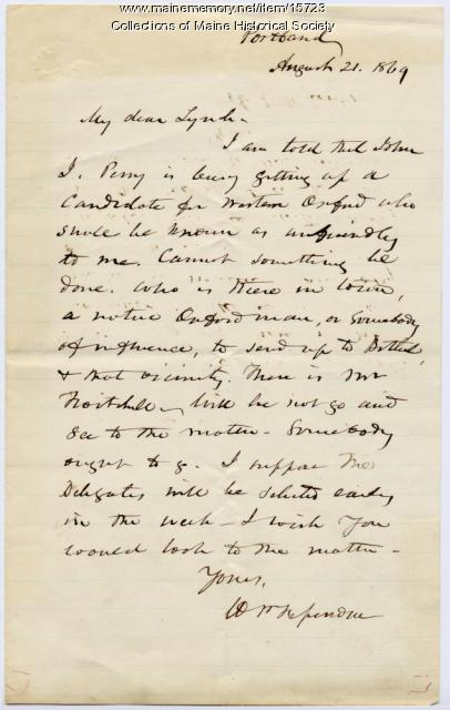 Letter from William P. Fessenden to John Lynch, 1869
