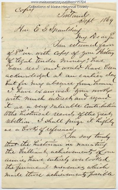Letter from John Lynch to E.G. Spaulding, 1869