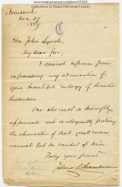 Joshua Chamberlain letter on Fessenden eulogy, 1869