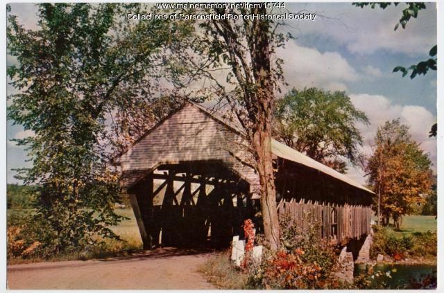 Porter covered bridge postcard, ca. 1945