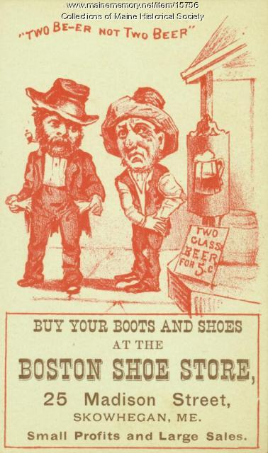 Shoe store advertisement, Skowhegan