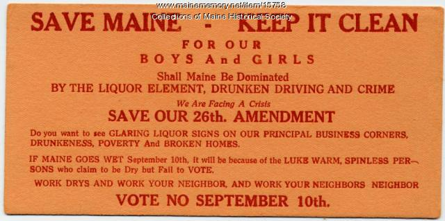 Prohibition election card, 1911