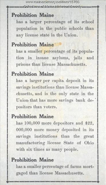 Anti-license law flyer, Sagadahoc County, 1911