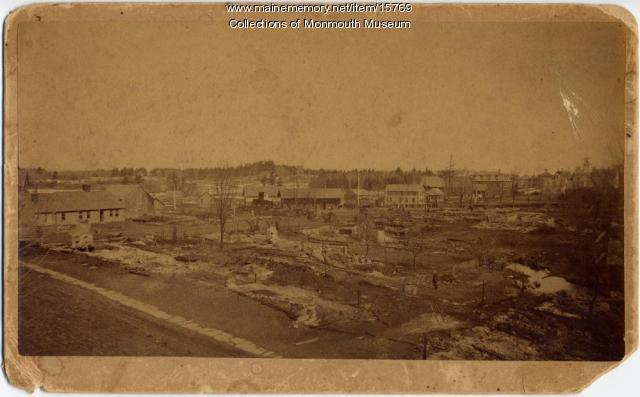 Monmouth Center after fire of 1888
