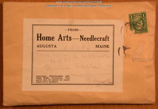 Needlecraft envelope, from Augusta to Grand Falls, New Brunswick