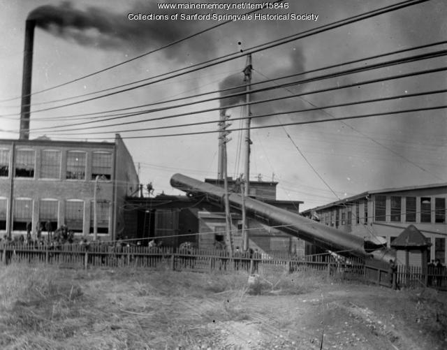 Raising the Chimney at Goodall Worsted Co., Sanford