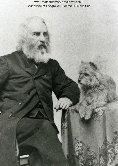 Henry Wadsworth Longfellow and his dog Trap, 1864-65
