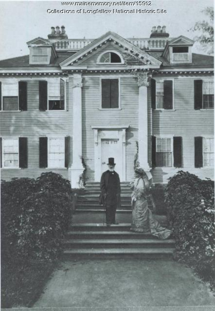 Henry W. Longfellow and daughter Edith in front of Craigie House, 1878
