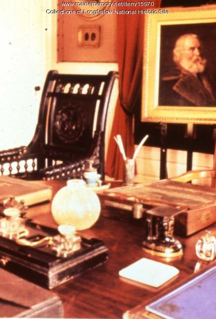 Henry Longfellow's writing table, portrait, and the 'Children's Chair', Cambridge, Massachusetts