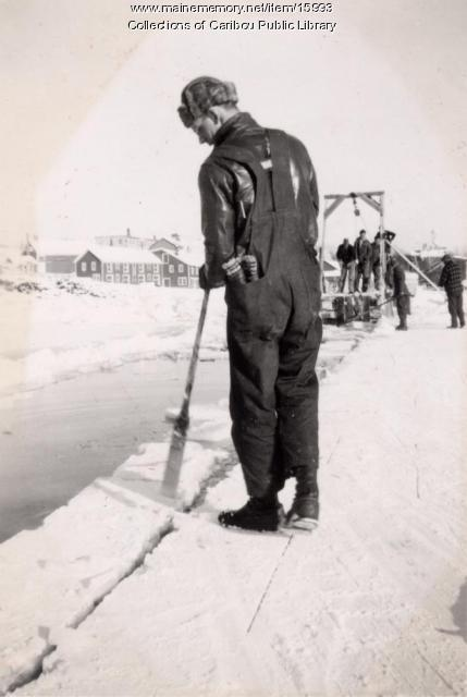 Harvesting ice on Collins Pond, Caribou, ca. 1942