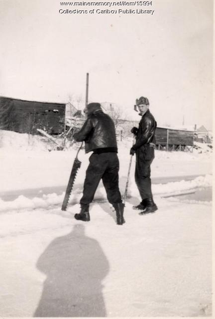 Using an ice saw on Collins Pond, Caribou, ca. 1942