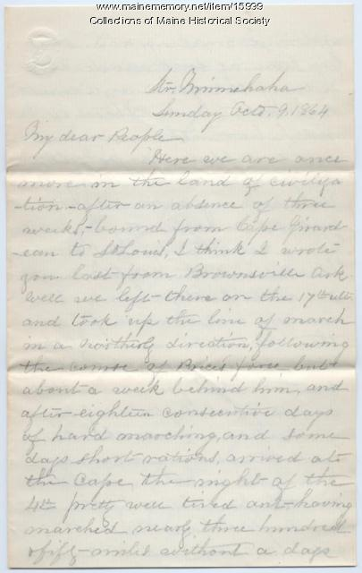 Moses Greenleaf letter to his family, 1864