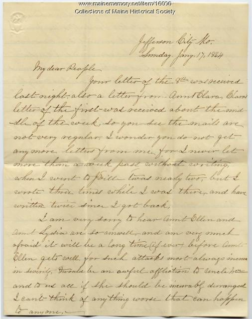 Moses Greenleaf Civil War letter, Jefferson City, Missouri, 1864