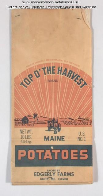 Top o'the Harvest brand potatoes, Unity, ca. 1960
