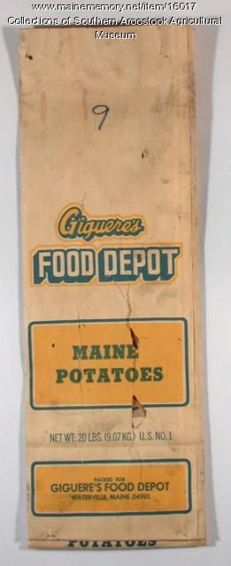 Giguere's Food Depot potato bag, Waterville, c. 1960