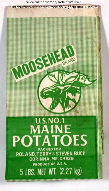 Moosehead brand potato bag, Corinna, c. 1965