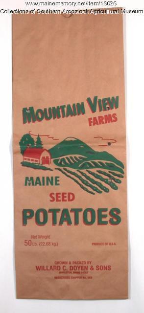 Mountain View Farms seed potato bag, Mapleton, c. 1980