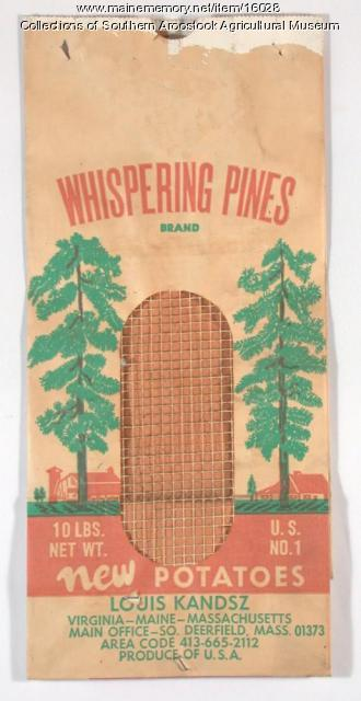 Whispering Pines potato bag, c. 1965