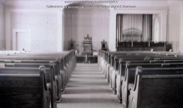 Congregational Church Interior, Court Street, Houlton, 1914