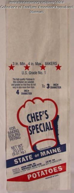 Chef's Special brand potato bag, Monticello, ca. 1970