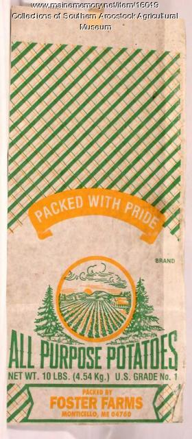 Packed With Pride potato bag, Monticello, 1970