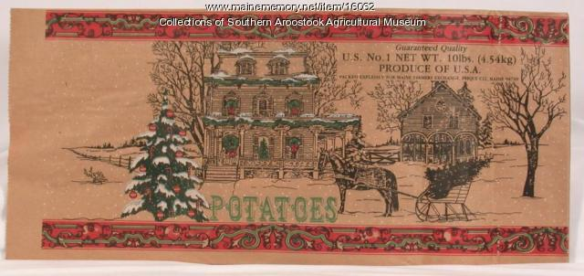 Maine Farmers Exchange holiday potato bag, Presque Isle, ca. 1975
