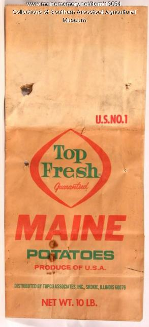 Top Fresh brand potato bag for Maine potatoes; Skokie Illinois, c. 1965