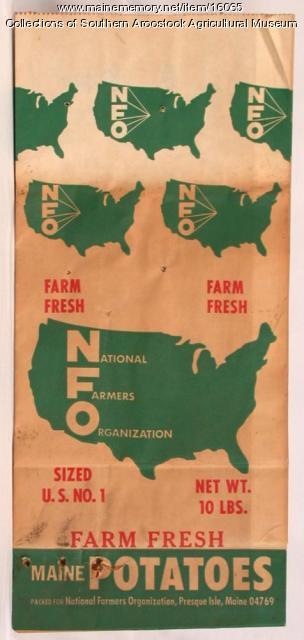 National Farmers Organization Maine potato bag, Presque Isle, c. 1970