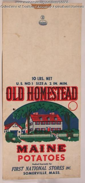 Old Homestead Maine potatoes bag; Somerville, Massachusetts, c. 1980