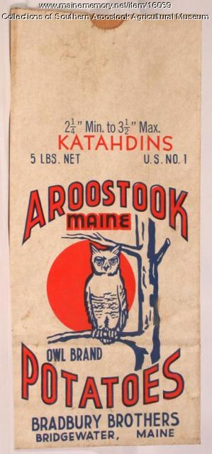 Owl Brand potato bag, Bridgewater, c. 1955