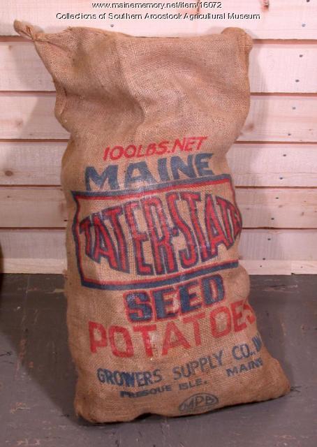 Tater-State brand burlap seed potato bag, Presque Isle, c. 1970