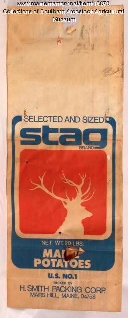 Stag brand potato bag, Mars Hill, c. 1965