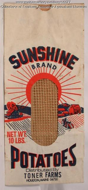 Sunshine Brand potato bag, Houlton, c. 1965