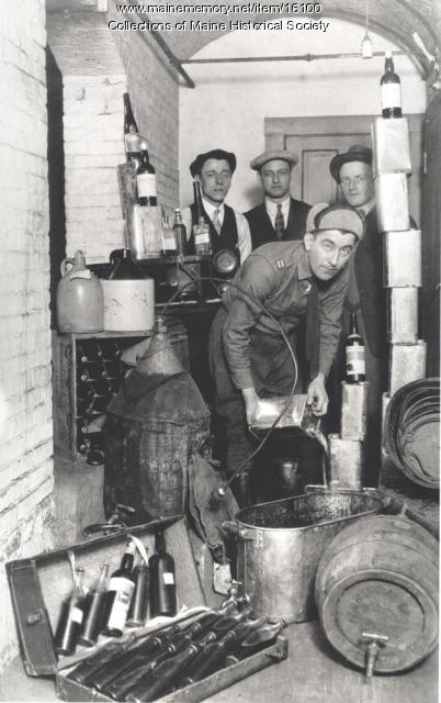 Pouring out contraband liquor, Bath, ca. 1920s