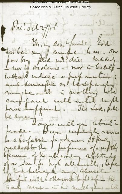 John Neal letter concerning son's death, 1856