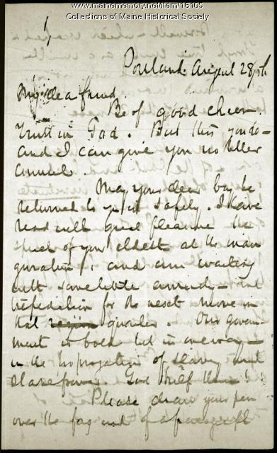 John Neal letter concerning family