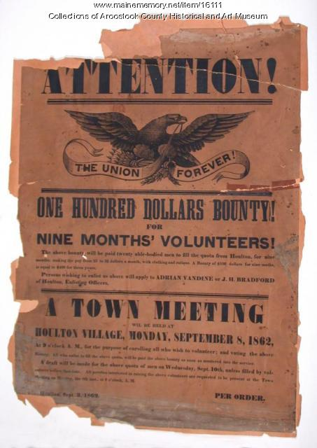 Civil War Recruiting Poster, Houlton, 1862