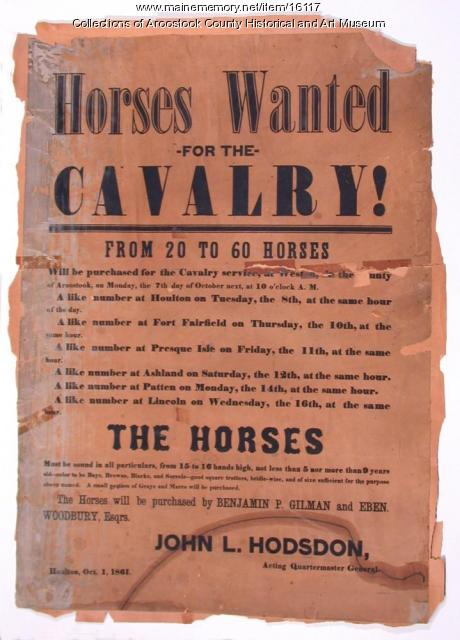 Poster seeking cavalry horses, Aroostook County, 1861