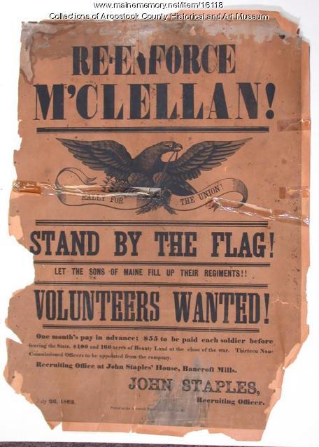 Civil War Recruiting Poster, Bancroft Mills, 1862