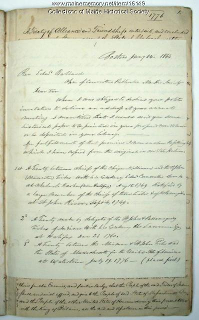 Letter concerning Indian treaties, 1864